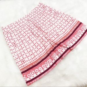 Loft • Red Diamond Patterned Skirt