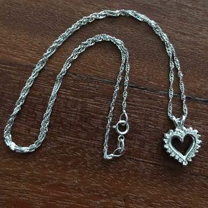 14k White Gold & Diamond Heart Necklace