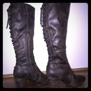 Dark brown lace-up heel boots