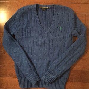 RALPH LAUREN SPORT cable vneck sweater in cobalt