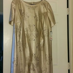 Tahari Woman Dresses & Skirts - Gold Midi Dress with intricate Cut Outs