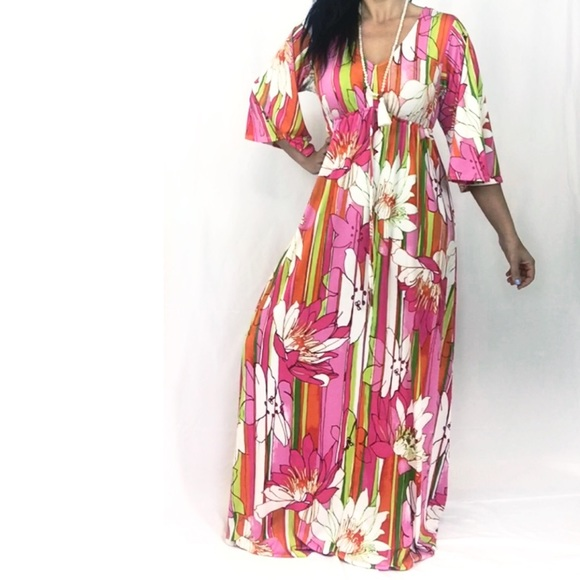 Half Moon Dresses & Skirts - Half Moon Pink Floral Boho Festival Maxi Dress S