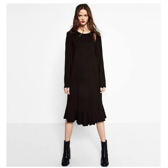 24d61bc6 Zara Dresses | Black Frill Midi Dress | Poshmark