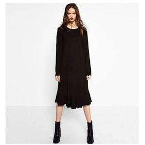 Zara Black Frill Midi Dress