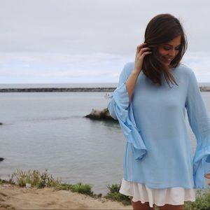 blue flutter sleeve top