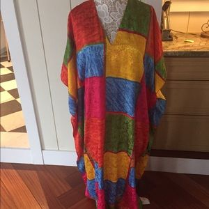 Vintage Dresses & Skirts - Funky psychedelic one size caftan 🌈🌺🍒
