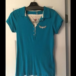 TWISTED HEART Tops - Twisted Hearts Turquoise Polo Shirt  size Large