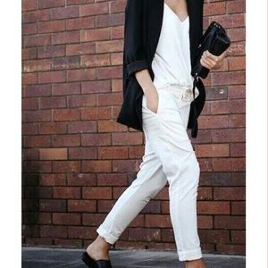 AG Adriano Goldschmied Denim - AG // Straight Leg Boyfriend White Jeans