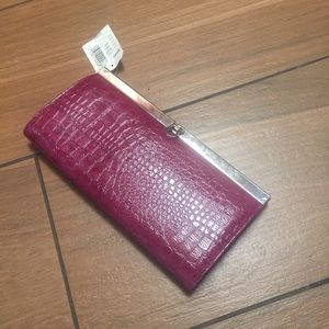 Bass Handbags - Bass women's alligator  print Berry clutch /wallet