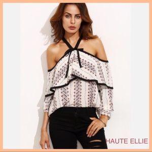 Haute Ellie Tops - Black Contrast Trim Printed Ruffle Top