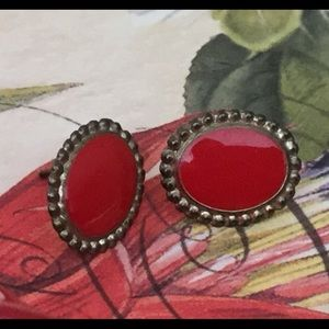 Vintage Jewelry - ♦️vintage red enamel and silver etched oval studs