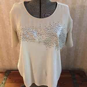 Coldwater Creek sequined short sleeved top.