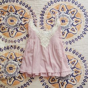 Kirra Tops - Light Pink Lace Detail Top