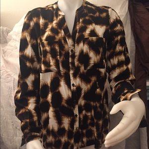 NWOT Cynthia Vincent Leopard Print Silk Blouse SzS