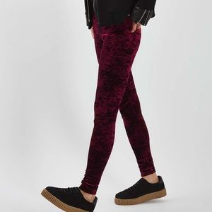 Topshop Wine Velvet Leggings