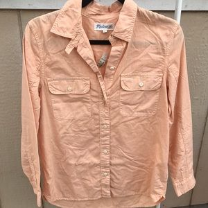 Madewell Tops - MADEWELL SZ S ORANGY PASTEL BUTTON DOWN SHIRT