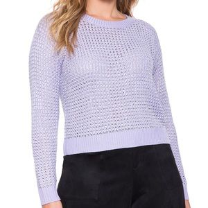Eloquii Sweaters - Open Knit Silver and Purple Sweater
