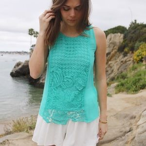 lace turquoise top