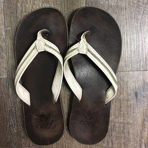 Reef Shoes - Women's Reef leather flip flops.