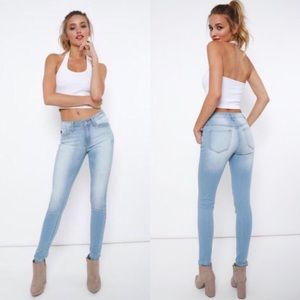 STANDING OVATION faded light blue skinny jeans
