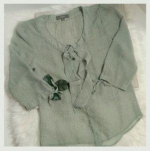 umgee Tops - Sheer Elegance Green/Black Dotted blouse