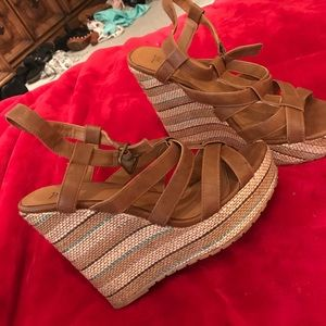 Black Poppy Shoes - brown wedges