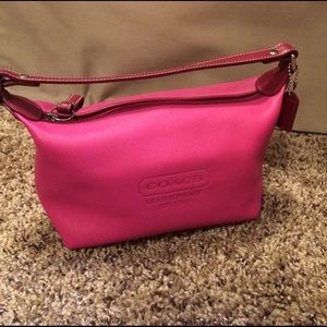 Coach pink leather cosmetic bag. EUC
