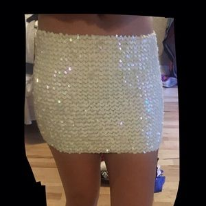 Tops - white sequin skirt/top