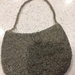 Handbags - Silver beaded evening purse