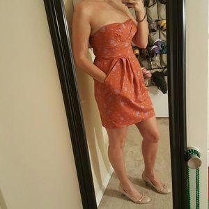 Saucy Strapless Burnt Orange Dress W/POCKETS