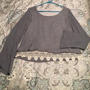 A3 Design  Tops - Never worn crop style top with bell sleeve