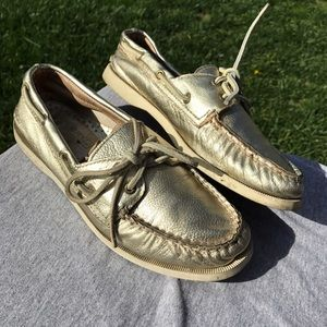 Gold leather sperry boat shoes