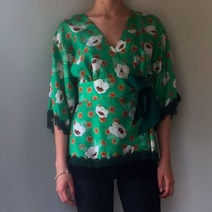 Anthropologie Tops - Green floral wrap shirt