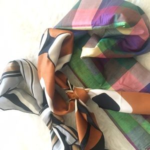 Vintage head scarf and neck tie - Set of 3
