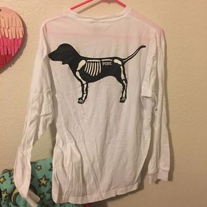 b6f5fdb47 PINK Victoria's Secret Tops - VS Pink LE Not Your Boo Skeleton Dog Halloween  Tee