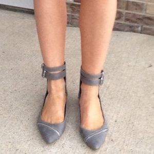 Distressed Buckle Zipper Flats