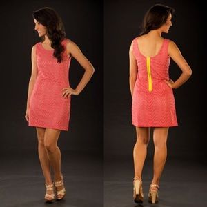 Tracy Negoshian Dresses & Skirts - Tracy Negoshian Coral Eyelet Dress w/ Back Zip•XL