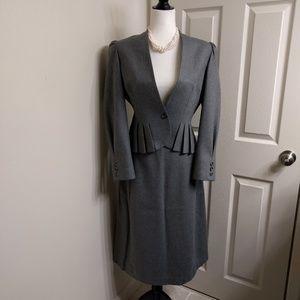 Vintage Jackets & Blazers - Vintage Pleated Pure Wool Suit & Skirt set
