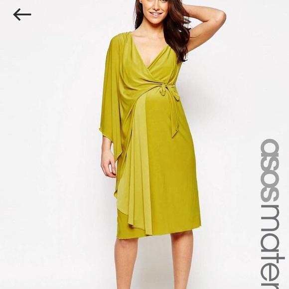 35c8797e848 Asymmetric One Shoulder Maternity Midi Dress 🤰