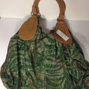 Charming Charlie Handbags - Charming Charlie green and gold hobo bag purse