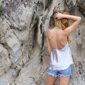 Tops - silver metallic tank
