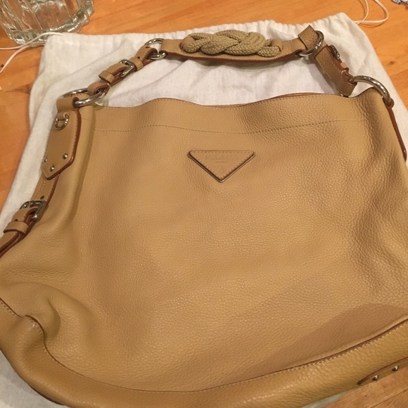 965d86d7d69c Prada Bags | New Beige Pebbled Leather Logoshoulder Bag | Poshmark