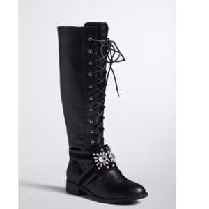 torrid Shoes - Knee high black bedazzled boots.
