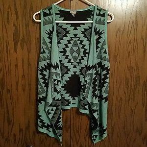 Vanity Sweaters - Aztec Sleeveless Cardigan