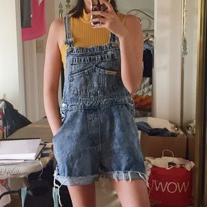 Urban Outfitters Denim - vintage distressed acid wash denim overall shorts