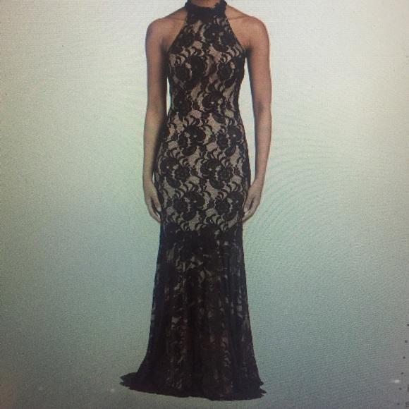 Black Lace Halter Prom Dress