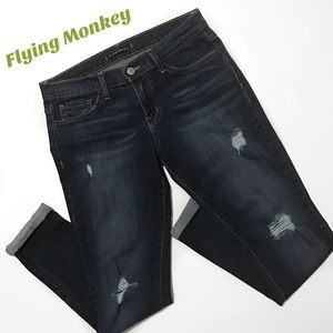 Flying Monkey Denim - Flying Monkey Distressed Boyfriend Cuffed Jeans