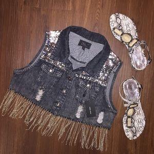 LF Jackets & Blazers - Short Jean Jacket Vest