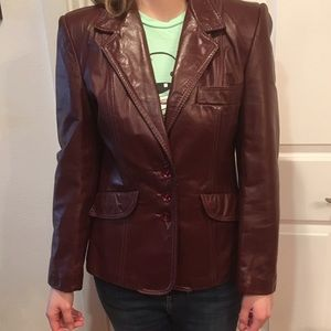 Vintage Chocolate Leather Jacket ( blazer)