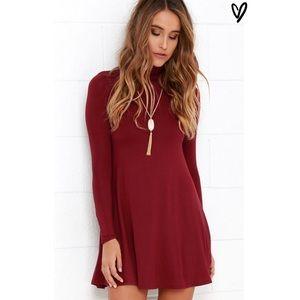 Lulu's Dresses & Skirts - Red Turtleneck Swing Dress